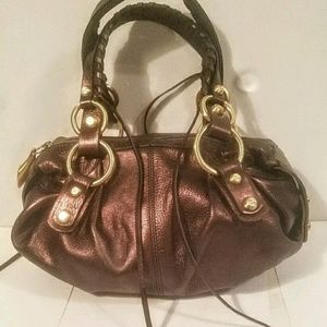 Francesco Biasia Bronze Metallic Leather Handbag